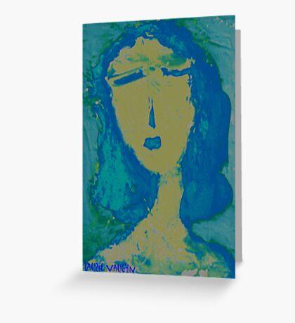Blue Girl Greeting Card