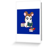 Maxwell with Books Greeting Card