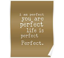 i am perfect you are perfect life is perfect text art Poster