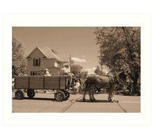 horse and wagon Art Print