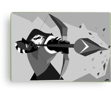 Black and White Green Arrow Vector Illustration Canvas Print