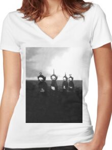 Creepy Teletubbies Women's Fitted V-Neck T-Shirt