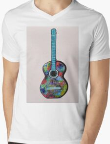 Colorful Abstract Guitar painting Modern wall decor Mens V-Neck T-Shirt