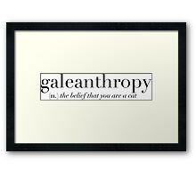 Galeanthropy Definition Cat Sticker Framed Print