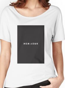 New York Minimalist Black and White - Trendy/Hipster Typography Women's Relaxed Fit T-Shirt