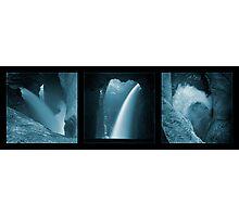 Trümmelbachfälle, in cyan (triptych) Photographic Print