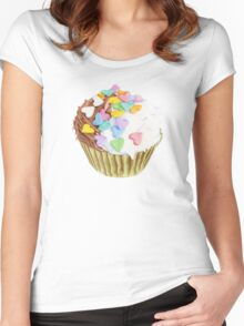 Cupcake Hearts T-shirt Women's Fitted Scoop T-Shirt
