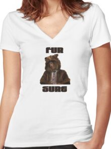 Fur Sure Women's Fitted V-Neck T-Shirt