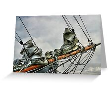 BOWSPRIT OF OLD SHIP (bowsprit showing the staysail and foresail hanked on the forestay and headstay. Greeting Card