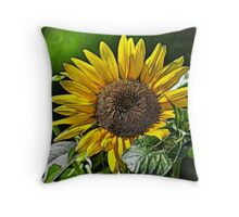 SUNFLOWER FRACTALIUS Throw Pillow