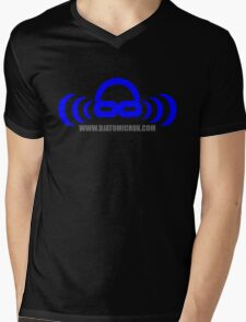Dj atomic logo with URL Mens V-Neck T-Shirt