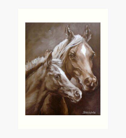 Arab Mare and Foal. Art Print