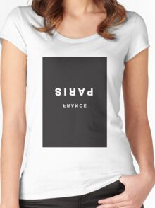 Paris, France Minimalist Black and White - Trendy/Hipster Typography Women's Fitted Scoop T-Shirt