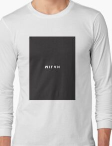 Milan Minimalist Black and White - Trendy/Hipster Typography Long Sleeve T-Shirt