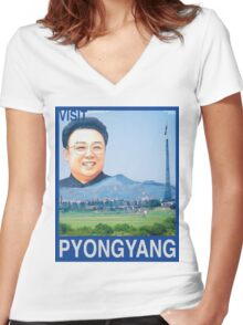 Visit PYONGYANG Travel Poster Women's Fitted V-Neck T-Shirt