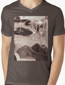 Bride and groom holding hands in marriage banquet black and white film silver gelatin fine art analog wedding photo Mens V-Neck T-Shirt