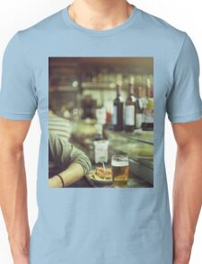 Man tapas and glass of beer in Spanish bar square Hasselblad medium format  c41 color film analogue photo Unisex T-Shirt