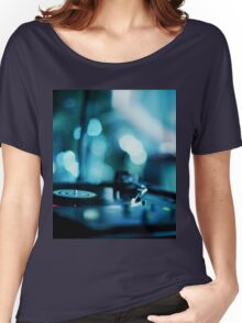 House music dj deejay turntable in nightclub party in Ibiza Spain blue digital photograph Women's Relaxed Fit T-Shirt