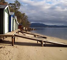 The Boatsheds at Coningham, Tasmania by Eleanor Wylie