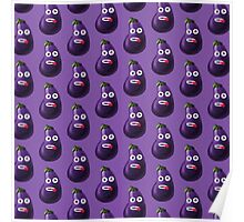 Purple Funny Cartoon Eggplant Pattern Case Poster