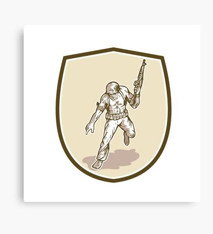 American Soldier Serviceman Armalite Rifle Cartoon Canvas Print