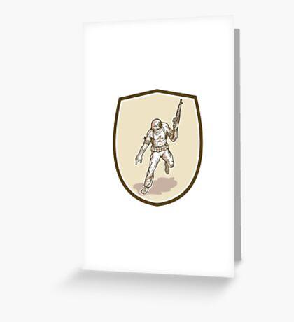 American Soldier Serviceman Armalite Rifle Cartoon Greeting Card