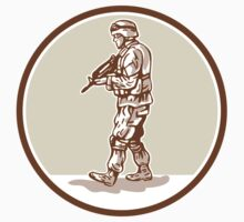 American Soldier Rifle Walking Circle Cartoon by patrimonio