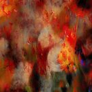 VIVID RED AND YELLOW ABSTRACT FLOWERS          by scarletjames