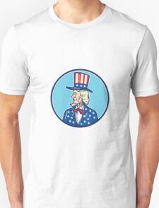 Uncle Sam TopHat American Flag Cartoon T-Shirt