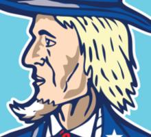 Uncle Sam TopHat American Flag Cartoon Sticker