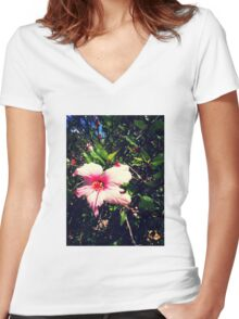 Beautiful pink flower Women's Fitted V-Neck T-Shirt
