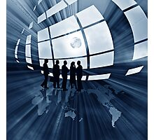 abstract business illustration with globe Photographic Print