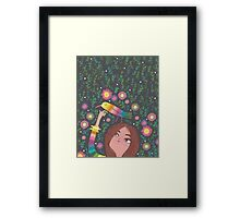 RAINBOW BIRD AND GIRL Framed Print