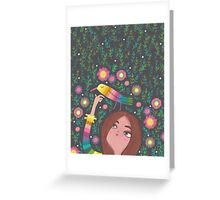 RAINBOW BIRD AND GIRL Greeting Card