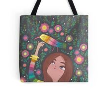 RAINBOW BIRD AND GIRL Tote Bag