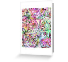 Abstract Girly Neon Rainbow Paisley Sketch Pattern Greeting Card
