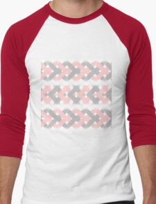 Geometric modern pink coral gray brushstrokes Men's Baseball ¾ T-Shirt