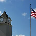Clock Tower &amp;  US Flag  - Jackson Outlet Mall - Jackson NJ - 1 by Paul Gitto