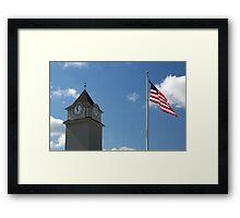 Clock Tower &  US Flag  - Jackson Outlet Mall - Jackson NJ - 1 Framed Print