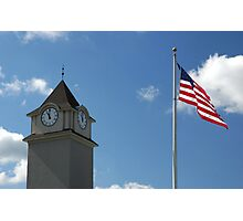 Clock Tower &  US Flag  - Jackson Outlet Mall - Jackson NJ - 1 Photographic Print