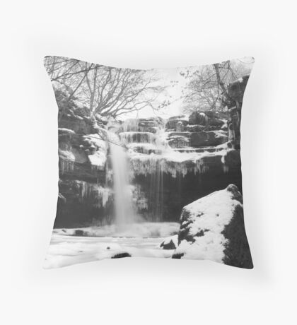 Gibsons Cave Waterfall in Winter Throw Pillow