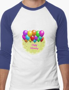 Colorful Happy Birthday Balloon Men's Baseball ¾ T-Shirt