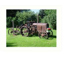 Old Tractor with mower and flowers Art Print