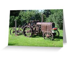 Old Tractor with mower and flowers Greeting Card