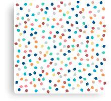 Spring modern polka dots brushstrokes pattern Canvas Print