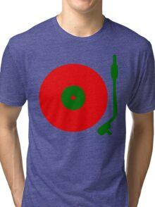 Red Green DJ Vinyl Record Turntable Tri-blend T-Shirt