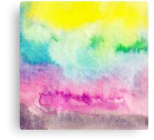 Abstract yellow pink blue handpainted watercolor Canvas Print