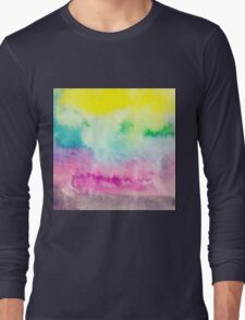 Abstract yellow pink blue handpainted watercolor T-Shirt