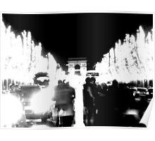 Champs-Elysées & Arch de Triomphe by Night Poster