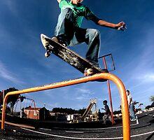 Jean-Marc Johannes, Overcrooks a playground rail near his house. by Gerhard Engelbrecht